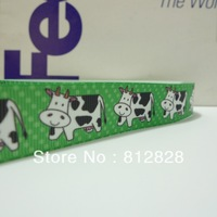 25 Yards 7/8'' 22mm Sublimation Printing Cows Green Tone Printed Grosgrain Ribbon Wholesale