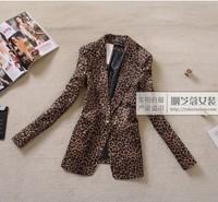 2013 spring and autumn women's street female leopard print slim suit blazer outerwear