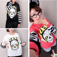 2013 autumn and winter latest Harajuku style cartoon skull and crossbones pattern sweater cute female Korean alphabetsweatshirt