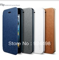 2013 New High Quality SGP SPIGEN Leather Case For Iphone 5 5G Ultra Flip wallet phone cases for apple i phone 5 +Original box