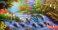 American oil painting mural tv background wallpaper sofa dream cartoon landscape