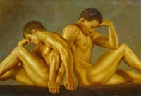 Charming nude Oil on canvas numbered Giclee Painting: Gay Interest 24x36 100% Free shipping h-05