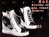 Wholesale Weight Increasing Women Sneakers With Zipper Lace-up Leisure Shoes Black White