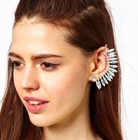 Punk Style earrings Women Elegant Alloy Cuff Ear Clip Crystal Fan Earrings 100% Excellent Quality AE410