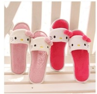Free Shipping Cute Cartoon Rilakkuma Hello Kitty Panda Open Toe Coral Fleece Short Plush Lovely Slippers Home  Slippers Retail