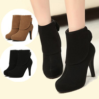 Free shipping bow high heel platform ankle for womens Martin boots winter fashion shoes Side zipper Black Brown J1379