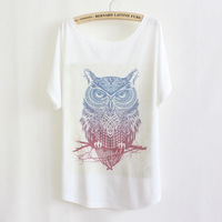 2014 Fashion High Quality Cotton T Shirt Women White Tops Round Collar tops owl printing Factory directly sale plus size