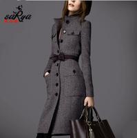 Woolen outerwear female HOT new 2014 slim long design cashmere overcoat tweed fabric winter clothes women coat winter coat women