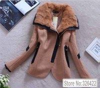 Winter Woollen Coat Women Outerwear Genuine Real Rabbit Fur Collar Thick Wool Coat Parka Casacos Femininos 2014 Casaco