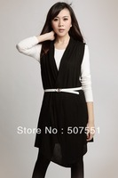 European and American big long section of large size women's clothes women's sweater vest vest cardigan shawl Pilling13101211