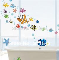 Free shipping cartoon Bubble fish wall sticker home decor, 3D wallpaper for kids bathroom,children bedroom wall decal mural k031