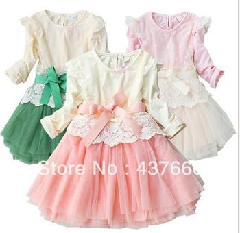 newest fashion classical plaid kids dress baby girls princess dress long-sleeve autmn dress high quality 100% cotto