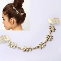 All-Match Fashion Hair Accesories Gold Color Leaves Hair Comb Multy Tress Headband AF226
