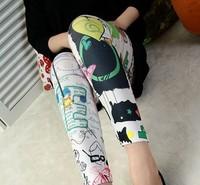 Free shipping hot sale sexy Women Stretch Leggings Ladies Skinny Han edition fashion cartoon stars love graffiti -WZ009
