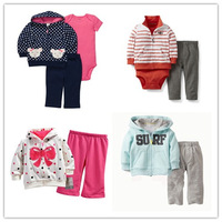 2013 New,Retail,Original Carters Boys Set,Grid&Animal Model Shirt+Pants 2pcs Set,Boys Casual Clothing Set,Free Shipping IN STOCK