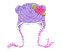 (Min order $15)Free Shipping-2013 Super Cute And Nice Handmade Caps For Children Flower Design Warm Winter Hats For Kids