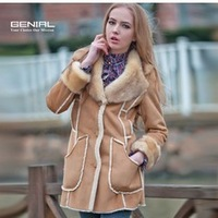 2013 Fashion Super ImitationFox Fur Collar Suede Fabric Faux Lining Women Fur Coats Winter Warm Luxurious  Fur Jackets SY0132
