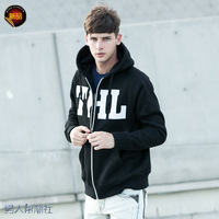 2013 spring and autumn casual male  cardigan with a hood  solid color casual hoodie