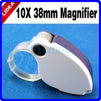 High Quality 10X 38mm LED + UV Light Pocket Jewelers Foldable Loupe Magnifier CN F-07