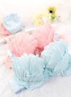 Free Shipping Deep sea shell mermaid princess cup underwear young girl chiffon lace bra set (pink)