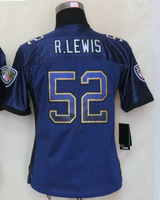 Women's American Football Jersey #52 Ray Lewis Purple Drift Fashion Elite Jersey Size S-XXL Embroidery name and number