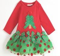 Christmas New Year red long-sleeved dress baby girls princess dress children clothing dot bow tree dress  retail BBS092