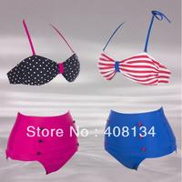 New Arrival Hot Slae Retro Swimsuits Suits Swimwear Vintage Bandeau High Waisted Bikini Set s M L XL