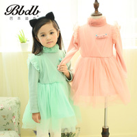 Book children's clothing female child autumn rabbit fur 2013 princess dress gauze 669 plus cotton one-piece dress
