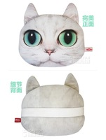 2013 new free shipping Car pillow Car headrest neck pillow cat head car cushion very real cat lovely cat doll