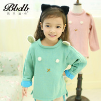 Book children's clothing female child autumn irregular pullover sweatshirt berber fleece bear basic fleece outerwear 675