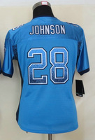 Women's American Football Jersey #28 Chris Johnson Blue Drift Fashion Elite Jersey Size S-XXL Embroidery name and number