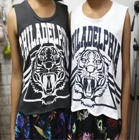 East Knitting OT-014 Vintage school loose t shirts Women Grey/White tiger head graffiti Vests free shipping