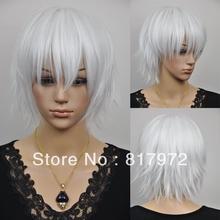 30cm Akise Aru White Short Shaggy Layered Synthetic Kanekalon Cosplay Wig Anime holiday gift Free Shipping(China (Mainland))