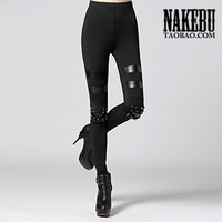 Nakebu rivet leather patchwork fashion punk legging pants 2013