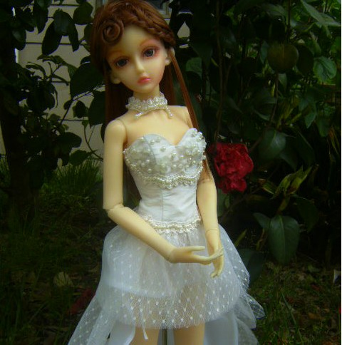Blue fairy doll clothes sd female wedding dress short train design