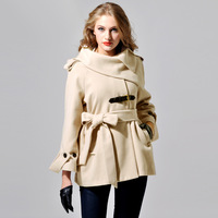 2013 new arrive Pugshop elegant big fashion vintage slanting collar butterfly belt hooded medium-long thermal outerwear