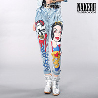 Nakebu 2013 skull casual loose jeans