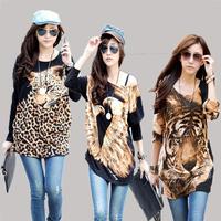 drop ship 3xl 4xl plus size loose blouse women tops fashion spring 2014 autumn blouses tiger animal print casual long t-shirt