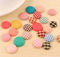 DIY manual Household sewing accessories,cloth solid plaid flatback 0-hole round buttons,wholesale 100pcs/lot free shipping