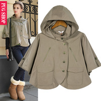 china famous brand Pugshop2013 autumn fashion vintage with a hood loose half sleeve cloak short jacket top women's