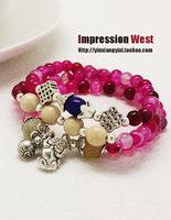 National trend handmade dr. peach multicolour stone leuconostoc gourd nunatak multi-layer bracelet