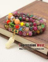 National trend natural peanut fashion multi-layer multicolour beads bracelet