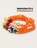 National trend natural cloisonne fashion multi-layer orange beaded bracelet