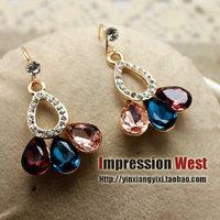 Earrings fashion gold crystal fanghaped multicolour crystal drop earrings