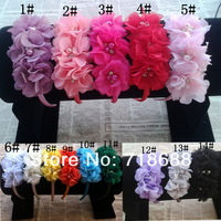 Angel Baby headwear Bling Triple soft chiffon  pearl diamond flower hairband Baby Flower Headbands 20pcs