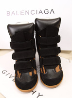 Ash fashion isabel marant elevator platform genuine leather shoes leopard print horsehair platform shoes high-top shoes