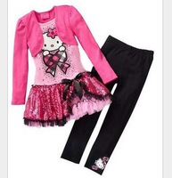 Girls Hello Kitty Suits Dress +Pant  fashion Suits Free Shipping  LG4638CH