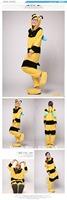 Hot 2013 Fashion New Lovely Yellow Bee Cosplay Adult Animal Pajamas Costumes Pyjamas SleepWear. Free Shipping.