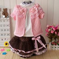 2014 autumn child set children's clothing set baby  girls  three piece set dresses free shipping