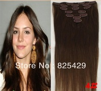 "free shipping 16""-28"" 7pcs set 100g 100% clips in remy human hair extensions #4 medium brown straight"
